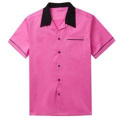 Candow Look Moda Hombre Camisa Retro Design Men Shirt Rockabilly Shirts, Rockabilly Fashion, Rockabilly Style, Collarless Shirt Men, Casual Shirts For Men, Men Casual, Casual Outfits, Vintage Bowling Shirts, Indie Fashion