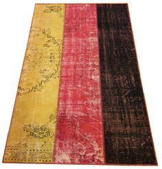 PATCHWORK RUG in German Flag Design, made from old & s. antique Turkish carpets