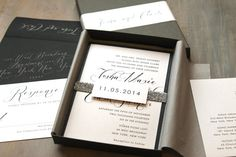 Script Wedding Invitations Glitter Modern Black and by BeaconLane, $100.00