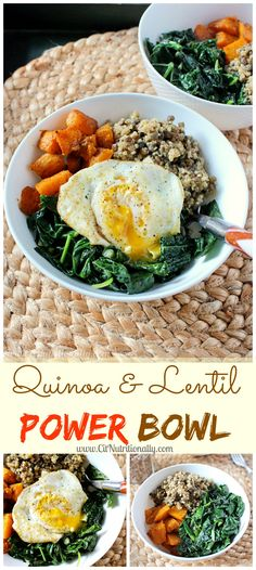 Quinoa and Lentil Power Bowl | This hearty & filling power bowl will warm you up, fill you up, and STILL help you fit into your skinny jeans! | C it Nutritionally #glutenfree #vegan option