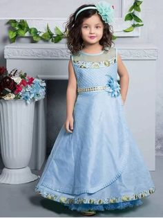 627bb28d0f Sky Blue Silk Embroidered Party Kids Gown