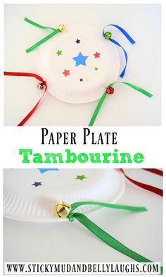 DIY Tambourine Paper Plate Craft - Sticky Mud and Belly Laughs We have been getting crafty again! This week it's all about musical instruments. Why not try our 5 minute paper plate craft? A DIY tambourine. Music Instruments Diy, Instrument Craft, Homemade Musical Instruments, Musical Instruments For Toddlers, Toddler Crafts, Preschool Crafts, Diy Crafts For Kids, Fun Crafts, Preschool Music Activities