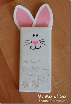 "Cute Easter teacher gift  - wrap a full size candy bar and have your child write ""Some bunny loves you"""
