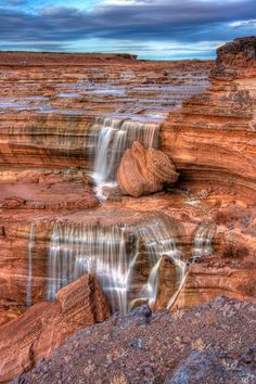 Here's a small section of Grand Falls on the Navajo Reservation. The Little Colorado runs over numerous small stair  step cascades before falling over the 185 foot tall Grand Falls.
