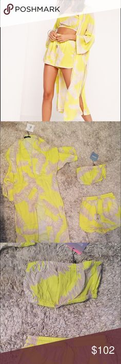 Missguided 3 piece set Super cute Kimono , bandeau top and shorts in  bright yellow and soft grey . Can be worn together or remixed in to different outfits never worn no trades .. Missguided Other