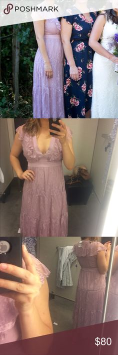 Lavender lace dress Beautiful lace dress, super comfortable and great for any occasion! Wayf Dresses Midi