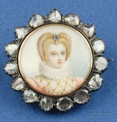 Antique Portrait Miniature and Diamond Brooch, depicting an elegant Elizabethan lady with neck ruff and jeweled hair ornament, framed by 15 Rose-Cut Diamonds, Silver-topped gold mounting.