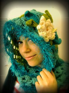 flower hooded crochet scarf