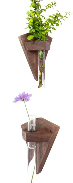 Show off your green thumb within the spectacular confines of the Geo Bud Vase. A striking look with artisan appeal, each vase features a glass test tube beaker with an American black walnut base that e...  Find the Geo Bud Vase, as seen in the The Bohemian Botanist Collection at http://dotandbo.com/collections/the-bohemian-botanist?utm_source=pinterest&utm_medium=organic&db_sku=115381