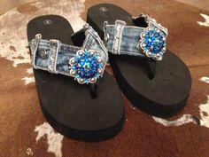 Custom Upcycled Blue Jean Denim FlipFlops Ladies Womens von ideekay, $85.00