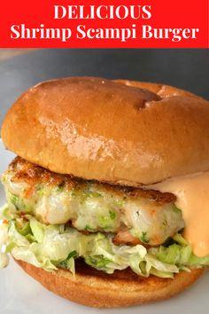 Burger Recipes, Fish Recipes, Seafood Recipes, Vegetarian Recipes, Cooking Recipes, Healthy Recipes, Shrimp Burger, Shrimp Dishes, Order Food