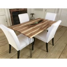 Mid Century Modern Dining Table Wormy Maple With Hairpin Legs. ($995) ❤ liked on Polyvore featuring home, furniture, tables, dining tables, dining room furniture, grey, home & living, kitchen & dining tables, grey table and gray dining table