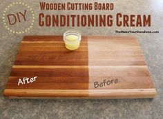 Woodworking Projects Homemade Wooden Cutting Board Conditioning Cream - easy to make with 2 ingredients! - Revive and condition your dry wooden cutting boards with this easy two ingredient homemade conditioning cream. Wood Projects For Beginners, Diy Wood Projects, Wood Crafts, Diy Cutting Board, Wood Cutting Boards, Cnc, Wooden Chopping Boards, Diy Holz, Easy Woodworking Projects