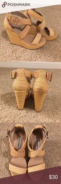 Steve Madden tan wedges Great pair of wedges that I no longer can walk in as flats are my new best friend!  Heel height is 4 1/2 inches tall and they buckle on the side. On the right heel is a dark spot but noticeable and are in great condition. Steve Madden Shoes Wedges