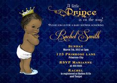 Navy Blue Damask and Gold African American Boy Prince Baby Shower Invitation and FREE Thank You Card Printable DIY
