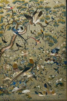 Chinese Embroidered Panel 1700s-1800s Embroidery, silk and gold thread The Cleveland Museum of Art