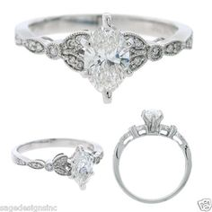 14kt White Gold Round Marquise Cut Diamond Semi Mount Setting Engagement Ring | eBay