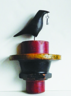 """Mark Orr's """"Raven on a pattern"""" one of many new sculptures at Good Goods in Saugatuck."""