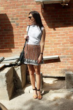 Eleni Stasinopoulou in a celine top, marni skirt, uterque shoes, marc by marc jacobs bag and ray-ban sunglasses.