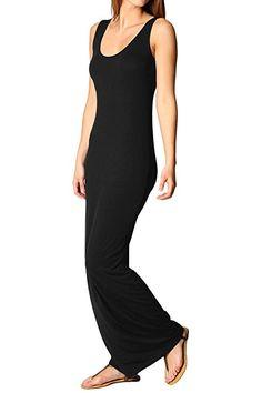 YMING Women's Casual Long Dress Simple Tank Solid Color Sleeveless Maxi Dress at Amazon Women's Clothing store: Best Black, Black Maxi, Women's Casual, Clubwear, Fashion Brands, Amazon, Formal Dresses, Elegant, Stylish