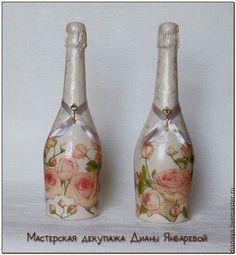 Свадебные бутылки и свадебных бокалов Декупаж - Αναζήτηση Google