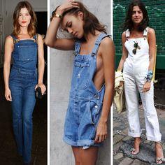 Looks inovadores usando apenas jardineira jeans.