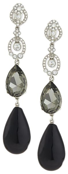 Rosamaria G Frangini | High Black Jewellery | Oscar de la Renta Loop Crystal Drop Earrings