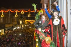Bonny Langford turns on the lights with Guildford Mayor Councillor Diana Lockyer-Nibbs, Kit Heskith Harvey (the Ugly Sister) and Jamie Brook...