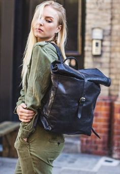 Black Leather Traveler's Backpack