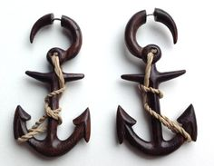 """Fake Gauge Earrings - """"Anchors"""" Would love these for real gauges."""