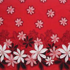 Samoan Design Cotton Print Fabric -  Red Tropical Flowers
