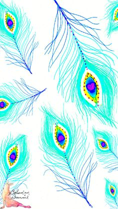 Gorgeous turquoise blue illustrated sketch art peacock feathers iphone wallpaper phone background lock screen