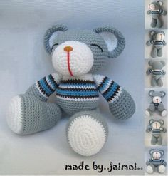 Crochet Bear Grey Bear Amigurumi Crochet Pattern (Free) ~ Amigurumi crochet patterns ~ K and J Dolls / K and J Publishing Crochet Teddy, Crochet Bear, Cute Crochet, Crochet For Kids, Crochet Crafts, Crochet Dolls, Crochet Projects, Crochet Animals, Crochet Mignon