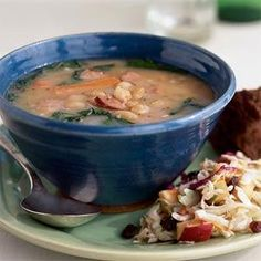 North Woods Bean Soup -Adding turkey kielbasa lends this hearty soup recipe a rich, slow-simmered flavor even though it takes just 25 minutes to make.