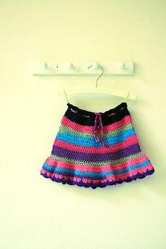 Crocheted striped girls skirt