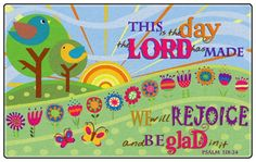 This Is The Day The Lord Has Made classroom rug available in 3 sizes.