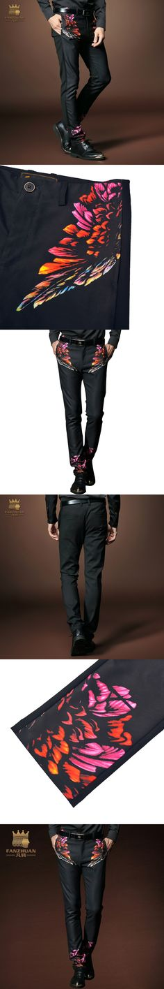 FANZHUAN Featured Brands Gothic Clothing Men's Casual Pants Painted Long Trousers Spring/Fall Straight Pants Male Print Pant
