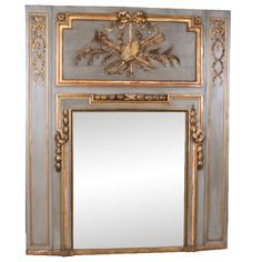 French 19th Century Painted & Gilt Trumeau | From a unique collection of antique and modern trumeau mirrors at http://www.1stdibs.com/furniture/mirrors/trumeau-mirrors/