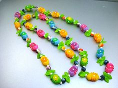 Vintage Neon Plastic Flowers Necklace by AntiqueAli on Etsy, $19.99