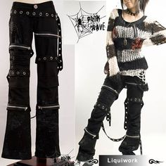 Black Punk Rave Rocker Rock Clothing Fashion Studded Pants Trousers