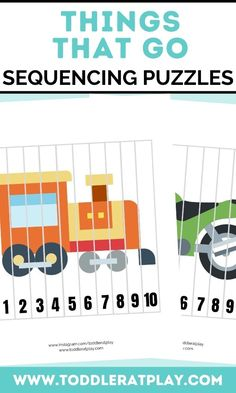 These Things That Go Sequencing Puzzles are fun, colorful and great for improving and exercising cognitive skills and fine motor skills. Sequencing puzzles help toddlers, preschoolers and kindergartners memorize number order, counting and more! You'll receive a PDF file with 10 puzzles! #sequencingpuzzles #diypuzzles #printables #kidsprintables