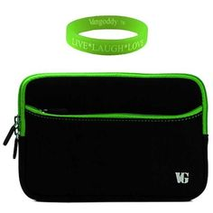 Padded, Scratch & Water Resistant Black with Green Trim Neoprene Sleeve for Kindle Touch Wi-Fi E Ink 6 Inch Display E Reader + Vangoddy Live*Laugh*Love Wristband by VG. $11.15. Protect your e-reader with this sleek and thin protective neoprene sleeve. Dual zipper opening ensures quick access and storage to your device. Extra pocket on exterior allows extra storage for headphones, chargers, etc. Interior padding protects against bumps, drops, wear and tear. Perfect ...