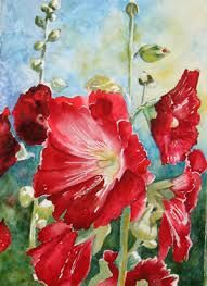hollyhocks paintings - Google Search