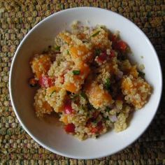 """Sweet Potato and Quinoa Salad.  I'm always on the lookout for quinoa recipes since it is """"the mother of all grains"""" - essential amino acids, protein, calcium, phosphorus, iron, you name it!"""