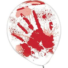 "Haunted Asylum Halloween Hand Blood Splatter Balloons Decoration, Latex, 12"" Pack of 6"