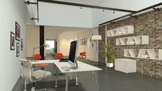 This Modern office has the same brick walls and orange scheme as studio park does! Go to www.modernrecycledspaces.com for more information