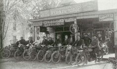 Vineland's Motorcycle Club posed for this 1915 photo in front of J.U. DuBois and John Potts' Vineland Repair Shop on the 300 block of Landis Avenue. Courtesy of Arcadia Publishing