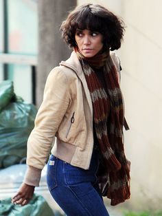 Halle Berry on set, with 70s styling.