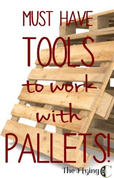 Pallet Furniture Projects Basic tools to make working with pallets easier! - Pallets are awesome. They are cheap, even free, and have an aesthetic that works with any decor from super-modern to shabby chic, to country farmhouse. The idea… Pallet Crates, Pallet Boards, Pallet Art, Pallet Ideas, Wood Pallets, Pallet Tool, Pallet Shelves, Wood Pallet Flooring, Pallet Benches