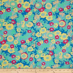 Jennifer Paganelli Hotel Frederiksted Mabel Blue from @fabricdotcom  Designed by Jennifer Paganelli for Free Spirit, this cotton print fabric is perfect for quilting, apparel and home decor accents. Colors include blue, mint, hot pink and yellow.